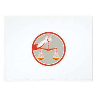 Hand Holding Weighing Scales Circle Retro 17 Cm X 22 Cm Invitation Card