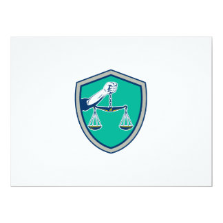 Hand Holding Weighing Scales Shield Retro 17 Cm X 22 Cm Invitation Card