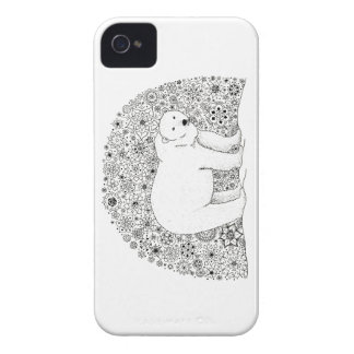 Hand Illustrated Artsy Floral Polar Bear Pen Art iPhone 4 Case-Mate Cases