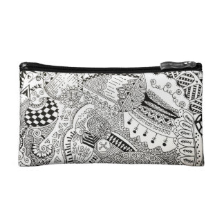 hand illustrated black and white pouch