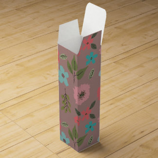 Hand Illustrated Floral Print Wine Gift Box