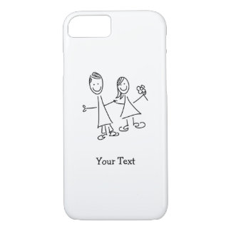 Hand in Hand Lovers Drawing Customizable Case
