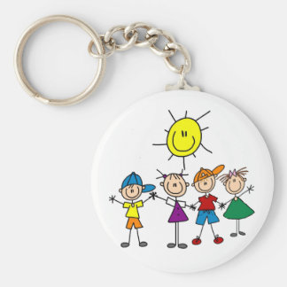 Hand in Hand Stick Figure Kids Tshirts and Gifts Basic Round Button Key Ring
