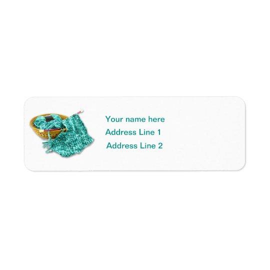 Hand Knit Fuchsia Chenille Yarn Return Address Label