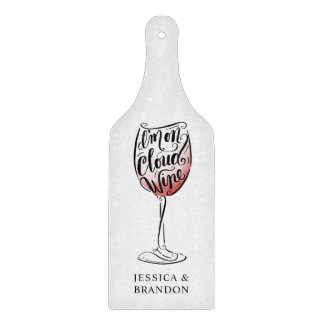 Hand Lettered and Illustrated I'm on Cloud Wine Cutting Board