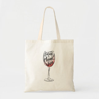 Hand Lettered and Illustrated I'm on Cloud Wine Tote Bag