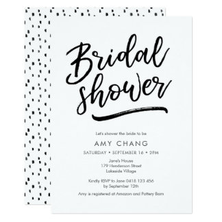 Hand lettered Bridal Shower Invitation
