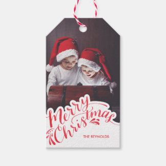 Hand Lettered Christmas Photo Gift Tag