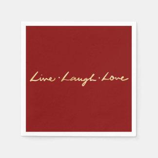 Hand Lettered Faux Gold Foil Live Laugh Love Paper Napkins