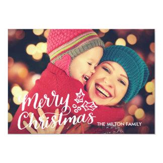 Hand Lettered Full Photo Christmas Card 13 Cm X 18 Cm Invitation Card
