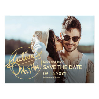Hand Lettered Future Mr and Mrs Save The Date Postcard