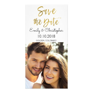 Hand Lettered Gold Script Wedding Save the Date Card