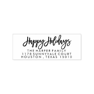 Hand-Lettered Happy Holidays Return Address Stamp