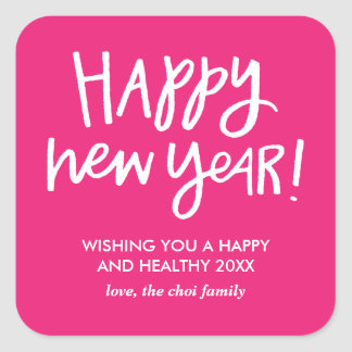 Hand Lettered Happy New Year Stickers - Pink