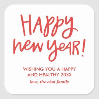 Hand Lettered Happy New Year Stickers - Red