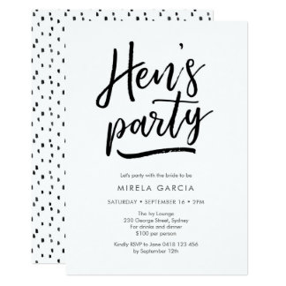 Hand lettered Hen's Party Invitation