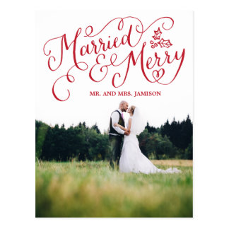 Hand Lettered Holiday Married and Merry Postcard