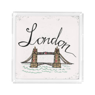 Hand Lettered London Bridge Acrylic Tray