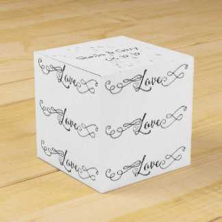 Hand-lettered Look Love and Splatters Take Out Favour Box