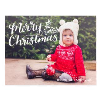 Hand Lettered Merry Christmas Full Photo Postcard