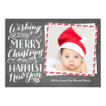Hand Lettered Merry Christmas Happy New Year 13 Cm X 18 Cm Invitation Card