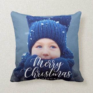 Hand Lettered Merry Christmas Holiday Photo Cushion