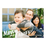 Hand-lettered Merry Happy Holiday Photo Card White Custom Invitations