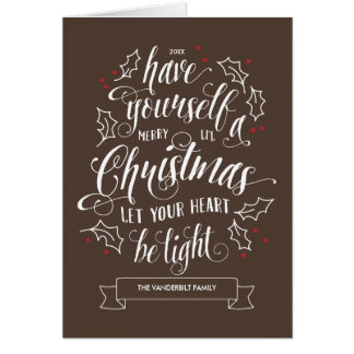 Hand Lettered Merry Li'l Christmas Holiday Folded Greeting Card
