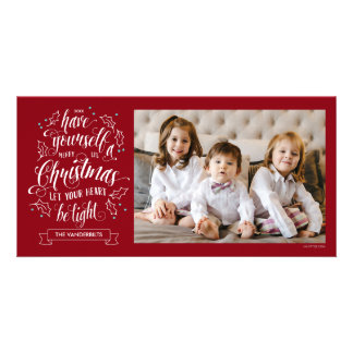Hand Lettered Merry Li'l Christmas One Sided Customised Photo Card
