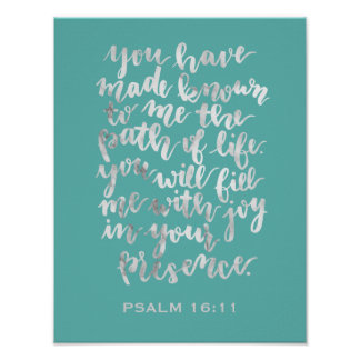 Hand Lettered Psalm 16:11 Marble Poster