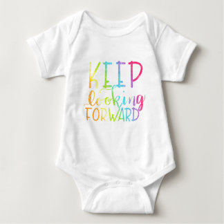 Hand Lettered Rainbow Keep Looking Forward Baby Bodysuit