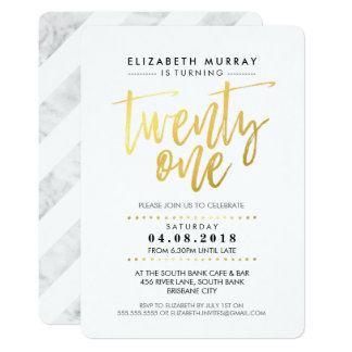 HAND LETTERED SCRIPT type simple gold foil marble 13 Cm X 18 Cm Invitation Card