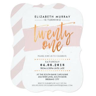 HAND LETTERED SCRIPT type trendy copper blush pink 13 Cm X 18 Cm Invitation Card