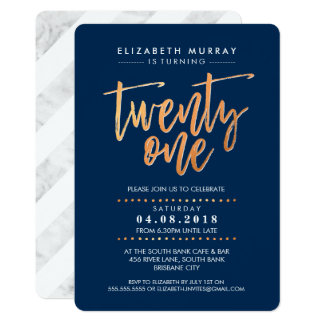 HAND LETTERED SCRIPT type trendy copper foil navy 13 Cm X 18 Cm Invitation Card