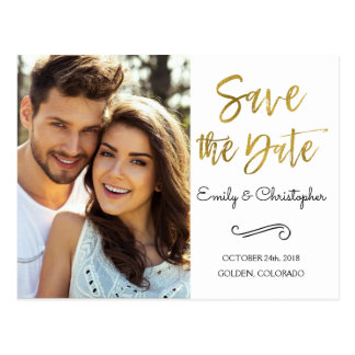Hand Lettered Script Wedding Save the Date Photo Postcard