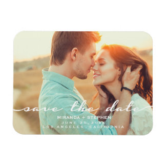 Hand Lettered Style Save the Date Wedding Photo Rectangular Photo Magnet
