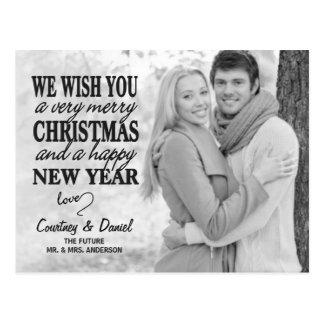 Hand Lettered Type Christmas Full-Photo Postcard