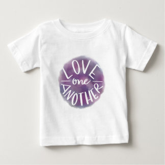Hand-Lettered Watercolor Bokeh Love One Another Baby T-Shirt