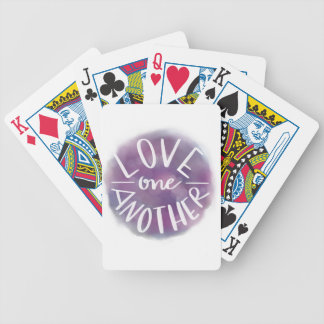 Hand-Lettered Watercolor Bokeh Love One Another Bicycle Playing Cards