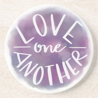 Hand-Lettered Watercolor Bokeh Love One Another Coaster