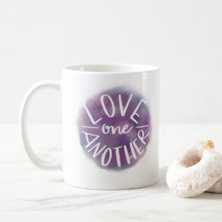 Hand-Lettered Watercolor Bokeh Love One Another Coffee Mug