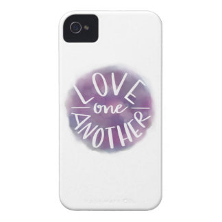Hand-Lettered Watercolor Bokeh Love One Another iPhone 4 Cases