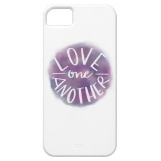 Hand-Lettered Watercolor Bokeh Love One Another iPhone 5 Cases