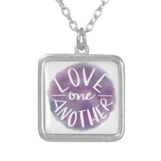 Hand-Lettered Watercolor Bokeh Love One Another Silver Plated Necklace