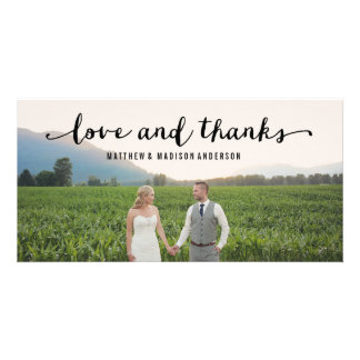Hand Lettered   Wedding Thank You Photo Card