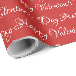 Hand lettering red and white Valentine's Day Wrapping Paper