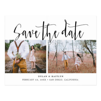 Hand Lettering Two Photos Save the Date Postcard