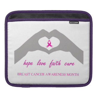 Hand making heart sign with breast cancer ribbon iPad sleeve