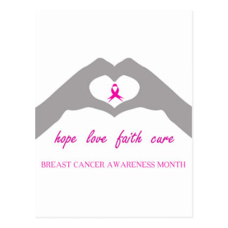 Hand making heart sign with breast cancer ribbon postcard