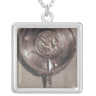 Hand mirror depicting Leda and the swan Silver Plated Necklace
